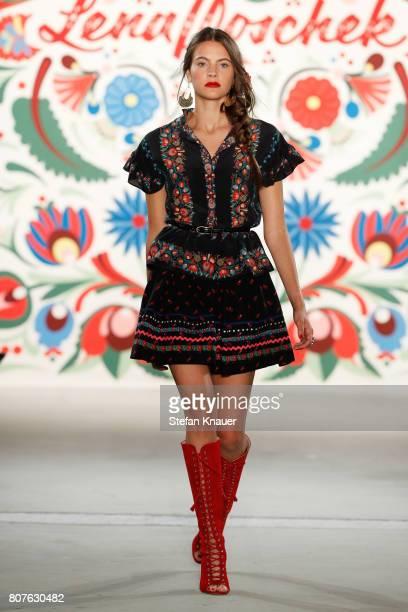 Model walks the runway at the Lena Hoschek show during the Mercedes-Benz Fashion Week Berlin Spring/Summer 2018 at Kaufhaus Jandorf on July 4, 2017...