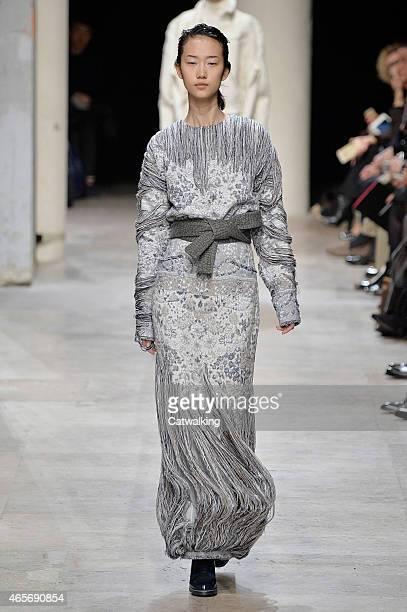 A model walks the runway at the Leonard Paris Autumn Winter 2015 fashion show during Paris Fashion Week on March 9 2015 in Paris France