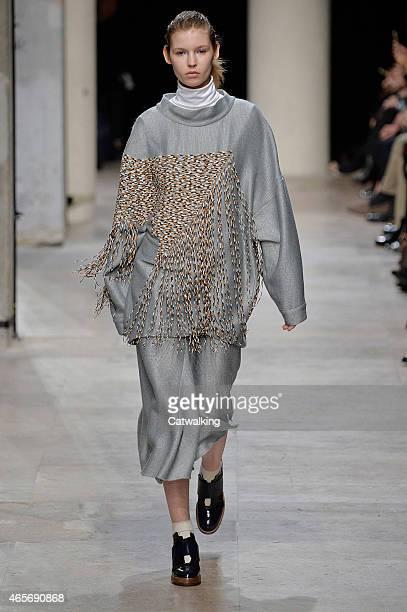 Model walks the runway at the Leonard Paris Autumn Winter 2015 fashion show during Paris Fashion Week on March 9, 2015 in Paris, France.