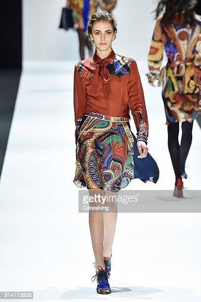 Model walks the runway at the Leonard Paris Autumn Winter 2016 fashion show during Paris Fashion Week on March 7, 2016 in Paris, France.