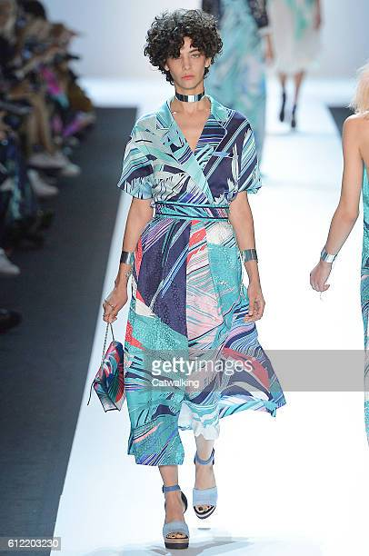 Model walks the runway at the Leonard Spring Summer 2017 fashion show during Paris Fashion Week on October 3, 2016 in Paris, France.