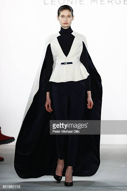 A model walks the runway at the Leonie Mergen show during the MercedesBenz Fashion Week Berlin A/W 2017 at Kaufhaus Jandorf on January 18 2017 in...