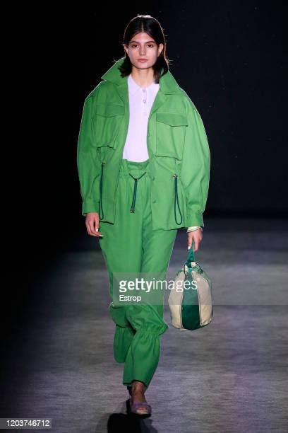 Model walks the runway at the Lera Mamba fashion show during 080 Barcelona Fashion at Hospital de Sant Pau on February 3, 2020 in Barcelona, Spain.