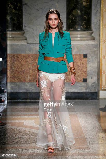 A model walks the runway at the Les Copains designed by Albino D'Amato show Milan Fashion Week Spring/Summer 2017 on September 22 2016 in Milan Italy