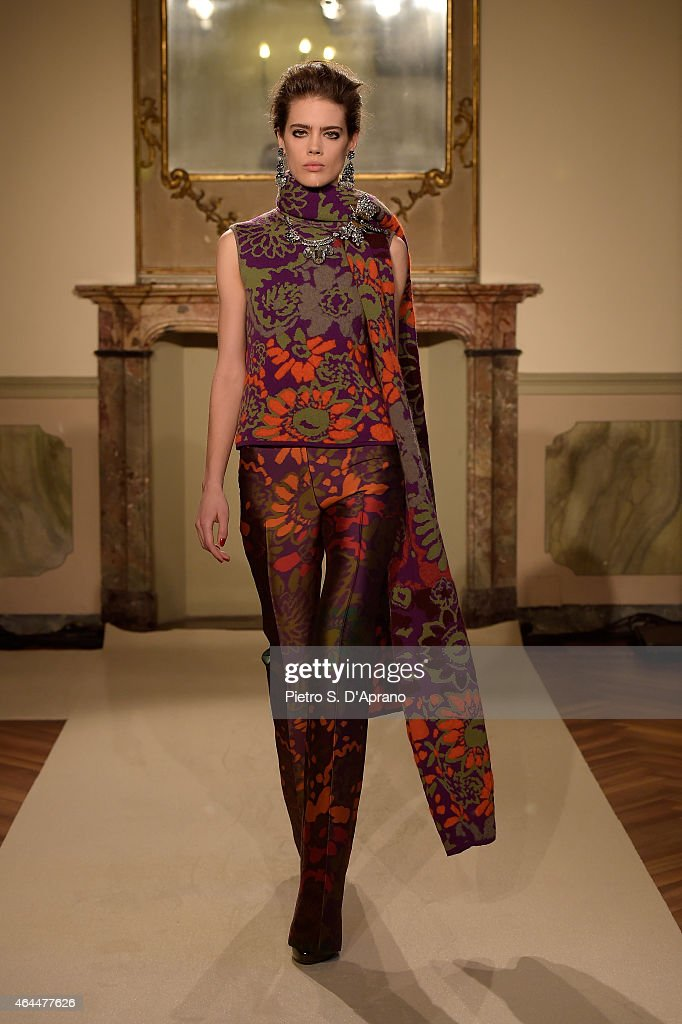 A model walks the runway at the Les Copains show during the Milan Fashion Week Autumn/Winter 2015 on February 26, 2015 in Milan, Italy.
