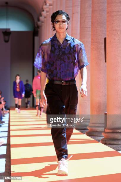 Model walks the runway at the Les Hommes fashion show during the Milan Men's Fashion Week Spring/Summer 2020 on June 16, 2019 in Milan, Italy.