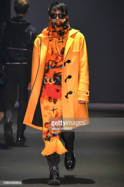 Model walks the runway at the Les Hommes show during Milan Menswear Fashion Week Autumn/Winter 2019/20 on January 12, 2019 in Milan, Italy.