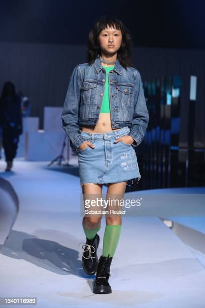 Model walks the runway at the Levi's show during the ABOUT YOU Fashion Week Autumn/Winter 21 at Kraftwerk on September 13, 2021 in Berlin, Germany.