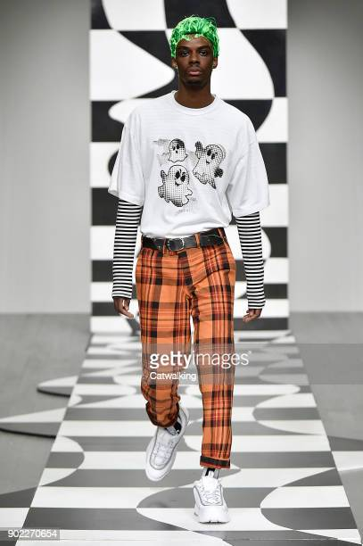 Model walks the runway at the Liam Hodges Autumn Winter 2018 fashion show during London Menswear Fashion Week on January 6, 2018 in London, United...