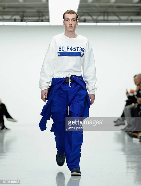 Model walks the runway at the Liam Hodges show during The London Collections Men AW16 at Victoria House on January 11, 2016 in London, England.