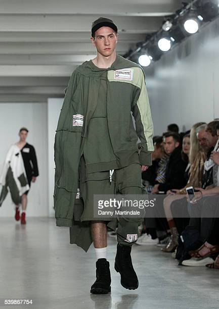 Model walks the runway at the Liam Hodges show during The London Collections Men SS17 at BFC Show Space on June 13, 2016 in London, England.