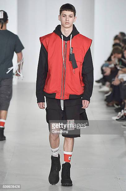 Model walks the runway at the Liam Hodges Spring Summer 2017 fashion show during London Menswear Fashion Week on June 13, 2016 in London, United...
