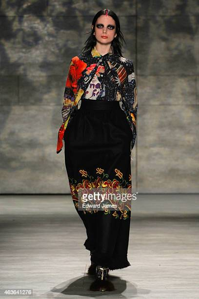 Model walks the runway at the Libertine fashion show during Mercedes-Benz Fashion Week Fall 2015 at The Pavilion at Lincoln Center on February 16,...
