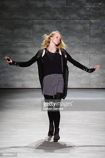 Model walks the runway at the Libertine fashion show during Mercedes-Benz Fashion Week Fall 2014 at The Pavilion at Lincoln Center on February 11,...