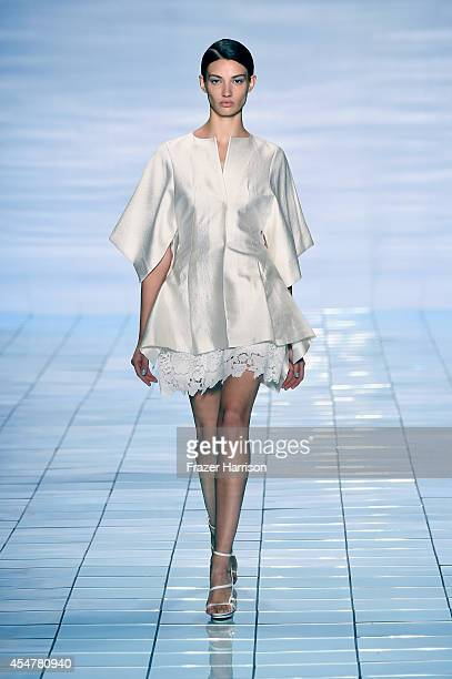 A model walks the runway at the LIE SANGBONG SpringSummer 2015 Collection during MercedesBenz Fashion Week Spring 2015 at The Salon at Lincoln Center...