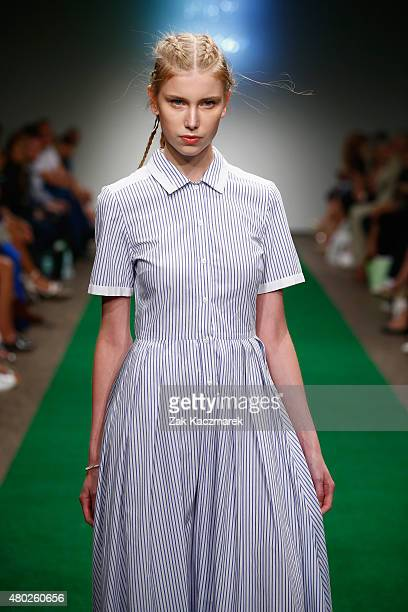 A model walks the runway at the Lilly Ingenhoven show during the MercedesBenz Fashion Week Berlin Spring/Summer 2016 at Stage at me Collectors Room...