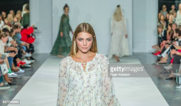 A model walks the runway at the Line of Oslo show during the Fashion Week Oslo Spring/Summer 2018 at the Sentralen on August 22 2017 in Oslo Norway