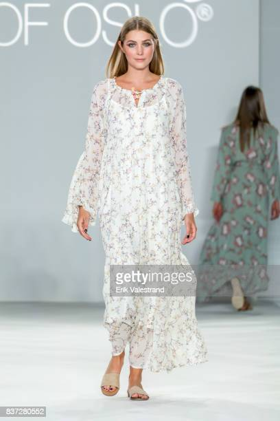 A model walks the runway at the Line Of Oslo show during the Fashion Week Oslo Spring/Summer 2018 on August 22 2017 in Oslo Norway
