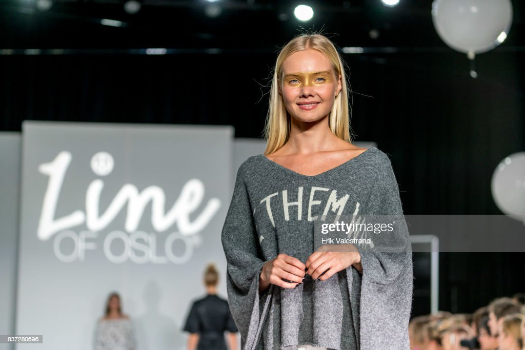 A model walks the runway at the Line Of Oslo show during the Fashion Week Oslo Spring/Summer 2018 on August 22, 2017 in Oslo, Norway.