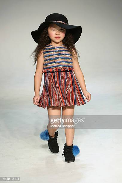 A model walks the runway at the Little Miss Galia show during petitePARADE / Kids Fashion Week at Bathhouse Studios on February 28 2015 in New York...