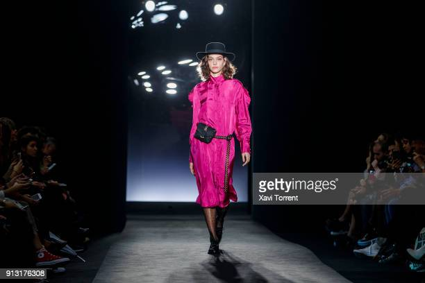 A model walks the runway at the LOA by Lidia Aguilera show during the Barcelona 080 Fashion Week on February 1 2018 in Barcelona Spain