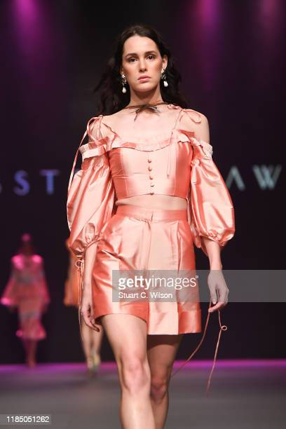 Model walks the runway at the Lobster Claw show during the FFWD October Edition 2019 at the Dubai Design District on November 02, 2019 in Dubai,...