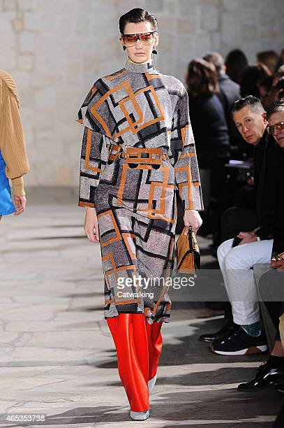 Model walks the runway at the Loewe Autumn Winter 2015 fashion show during Paris Fashion Week on March 6, 2015 in Paris, France.
