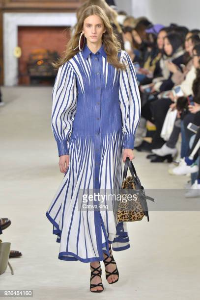 Model walks the runway at the Loewe Autumn Winter 2018 fashion show during Paris Fashion Week on March 2, 2018 in Paris, France.