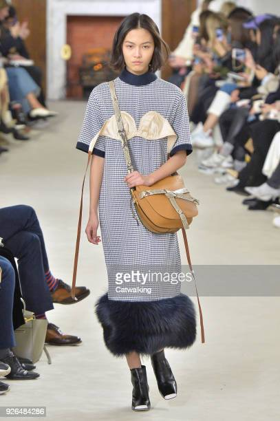 A model walks the runway at the Loewe Autumn Winter 2018 fashion show during Paris Fashion Week on March 2 2018 in Paris France