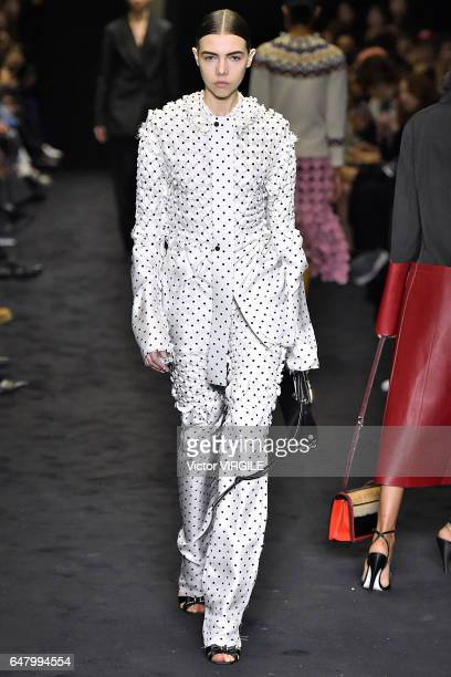A model walks the runway at the Loewe fashion show during the Paris Fashion Week Womenswear Fall/Winter 2017/2018 on March 3 2017 in Paris France