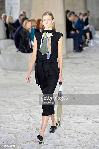 A model walks the runway at the Loewe Spring Summer 2015 fashion show during Paris Fashion Week on September 26 2014 in Paris France
