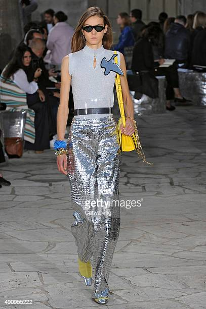 A model walks the runway at the Loewe Spring Summer 2016 fashion show during Paris Fashion Week on October 2 2015 in Paris France