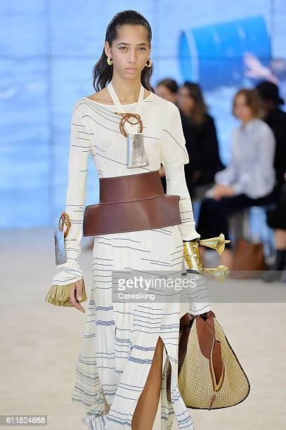 Model walks the runway at the Loewe Spring Summer 2017 fashion show during Paris Fashion Week on September 30, 2016 in Paris, France.