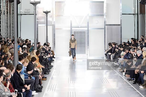 A model walks the runway at the Louis Vuitton Autumn Winter 2015 fashion show during Paris Menswear Fashion Week on January 22 2015 in Paris France
