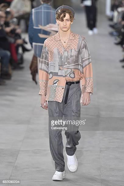 Model walks the runway at the Louis Vuitton Autumn Winter 2017 fashion show during Paris Menswear Fashion Week on January 19, 2017 in Paris, France.
