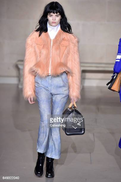 A model walks the runway at the Louis Vuitton Autumn Winter 2017 fashion show during Paris Fashion Week on March 7 2017 in Paris France
