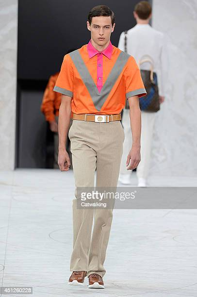 A model walks the runway at the Louis Vuitton Spring Summer 2015 fashion show during Paris Menswear Fashion Week on June 26 2014 in Paris France
