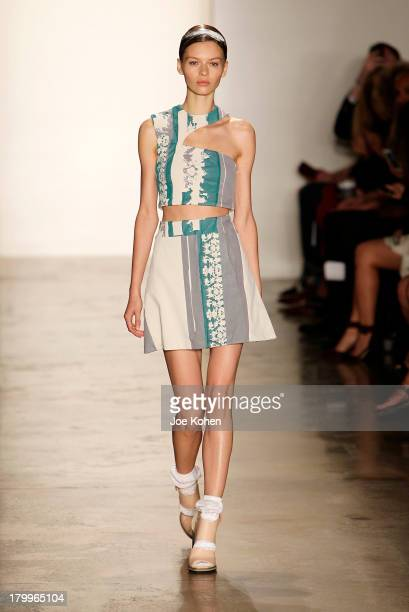 A model walks the runway at the Louise Goldin fashion show during MADE Fashion Week Spring 2014 at Milk Studios on September 7 2013 in New York City