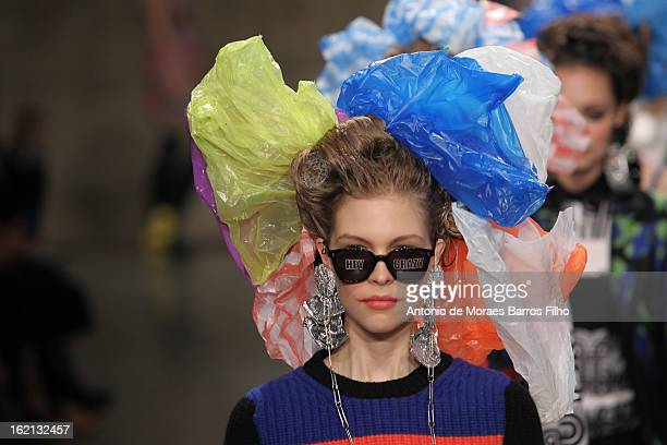 Model walks the runway at the Louise Gray show during London Fashion Week Fall/Winter 2013/14 at TopShop Show Space on February 18, 2013 in London,...