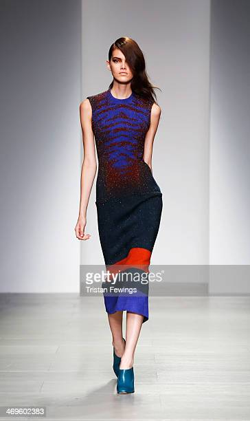 Model walks the runway at the Lucas Nascimento show at London Fashion Week AW14 at Somerset House on February 15, 2014 in London, England.