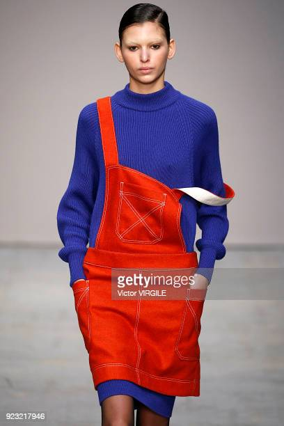 A model walks the runway at the Lucio Vanotti Ready to Wear Fall/Winter 20182019 fashion show during Milan Fashion Week Fall/Winter 2018/19 on...