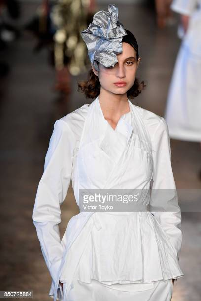 A model walks the runway at the Lucio Vanotti show during Milan Fashion Week Spring/Summer 2018 on September 21 2017 in Milan Italy