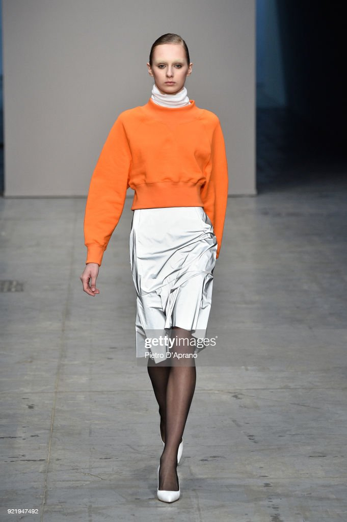 A model walks the runway at the Lucio Vanotti show during Milan Fashion Week Fall/Winter 2018/19 on February 21, 2018 in Milan, Italy.