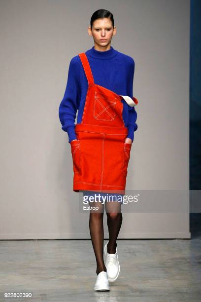 A model walks the runway at the Lucio Vanotti show during Milan Fashion Week Fall/Winter 2018/19 on February 21 2018 in Milan Italy