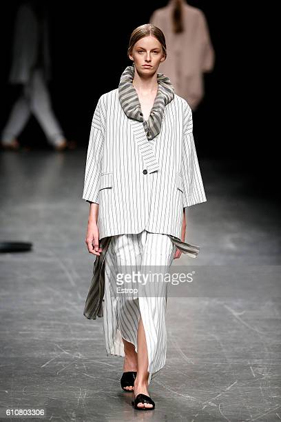 A model walks the runway at the Lucio Vanotti show Milan Fashion Week Spring/Summer 2017 on September 26 2016 in Milan Italy