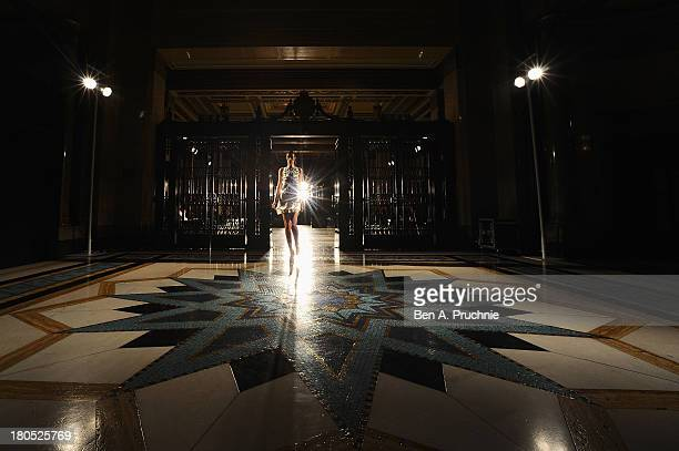 A model walks the runway at the Lug Von Siga show at the Fashion Scout venue during London Fashion Week SS14 at Freemasons Hall on September 14 2013...
