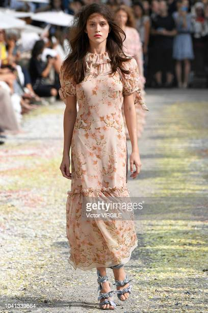 Model walks the runway at the Luisa Beccaria Ready to Wear fashion show during Milan Fashion Week Spring/Summer 2019 on September 20, 2018 in Milan,...