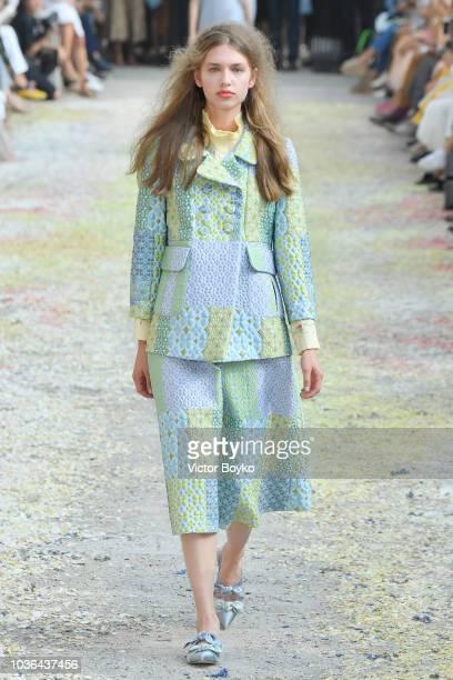Model walks the runway at the Luisa Beccaria show during Milan Fashion Week Spring/Summer 2019 on September 20, 2018 in Milan, Italy.