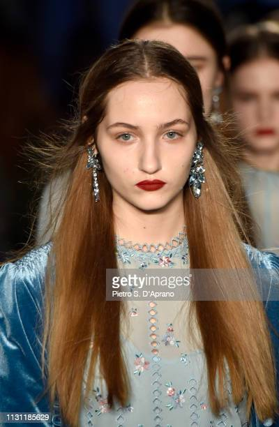 A model walks the runway at the Luisa Beccaria show during Milan Fashion Week Autumn/Winter 2019/20 on February 21 2019 in Milan Italy