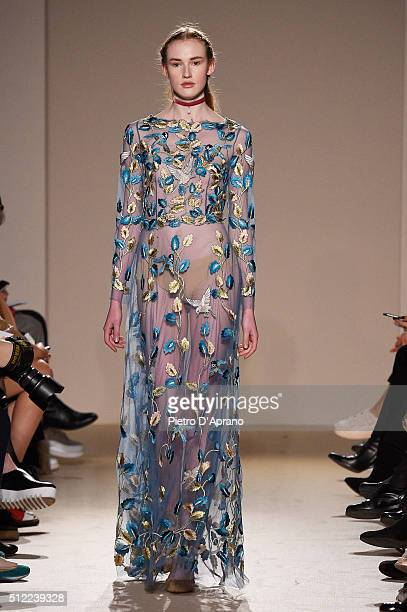 A model walks the runway at the Luisa Beccaria show during Milan Fashion Week Fall/Winter 2016/17 on February 25 2016 in Milan Italy